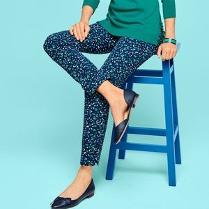 Talbots 8p Blue Green Floral Chatham Ankle Pants